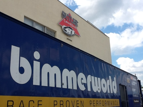 Bimmerworld has arrived and are working at the shop to get race ready for this weekend at Kansas speedway!